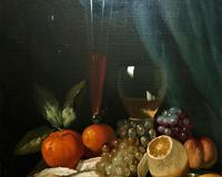 Fine Original 19thc Antique Spanish Fruit Wine & Oyster Still Life Oil Painting (12 of 13)