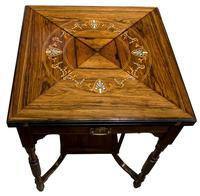 A Late Victorian Inlaid Rosewood Envelope Card Table (6 of 9)