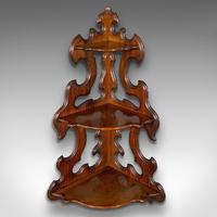 Antique 3 Tier Hanging Whatnot, English, Rosewood, Corner Wall Shelf, Victorian (4 of 12)