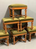 Set of 6 satinwood modular stools in vintage velvet (4 of 8)