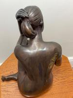 Art Deco Style Nubile African Tribal Bronze Nude Lady Statue Sculpture (17 of 28)