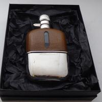 Edwardian Silver Plate Plated Leather Bound Glass Hip Flask (11 of 11)