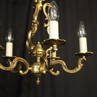 French Gilded Brass 5 Light Chandelier (2 of 10)