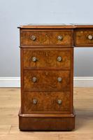 19th Century Victorian Burr Walnut Pedestal Desk (4 of 18)