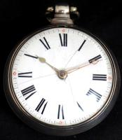 Antique Silver Pair Case Pocket Watch Fusee Verge Escapement Key Wind Enamel P Edmonds Liverpool (5 of 10)