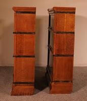 Pair Of Low Stacking Bookcases In Light Oak Globe Werknicke Late 19th Century (6 of 10)