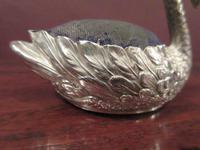 Large Edwardian Antique Silver Swan Pin Cushion (5 of 7)