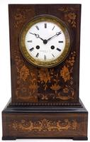 Wonderful Offices French Empire Mantel Clock Carved Floral Inlay (9 of 10)