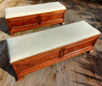 Pair of Large French Oak Ottomans