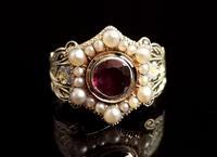 Antique Mourning Ring, 18ct Gold, Enamel, Pearl & Garnet - William IV (7 of 13)