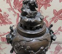 Japanese Bronze Censer & Cover with Kylin on a Rock on the Lid (2 of 10)