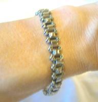 "Antique Bracelet 1890s Victorian Silver Nickel Fancy Link 7 1/2"" Length 13.6 Grams (11 of 12)"