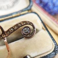 Antique Edwardian 15ct Gold Diamond & Sapphire Upfinger Dress Ring (6 of 12)