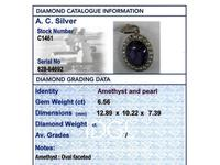6.56 ct Amethyst and Pearl, 15 ct Yellow Gold Pendant - Antique Circa 1890 (2 of 12)