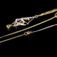 Antique Amethyst Peridot and Pearl Lavalier 9ct 9K Gold Pendant and Chain Necklace (7 of 10)