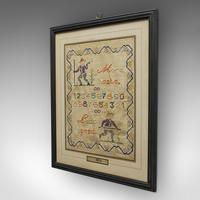 Antique Framed Sampler, English, Cross-Stitch, Apprentice, Victorian, Dated 1896 (3 of 10)