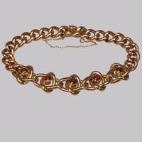 Victorian Garnet Knot & Curb Link 9ct Gold Bracelet with Antique Box c 1890 (6 of 11)