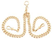 9ct Yellow Gold Double Albert Watch Chain - Antique c.1910 (2 of 12)