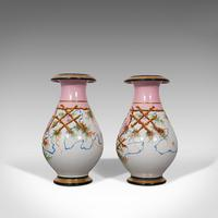 Antique Pair of Peony Vases, French, Decorative Ceramic Urn, Victorian c.1890 (11 of 12)