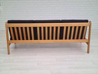Danish Design by Børge Mogensen, Sofa Model 217, Completely Reupholstered 1970s, Furniture Wool, Oak (5 of 13)