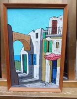 Oil on Board the Court Yard Artist Spina 1960s (3 of 10)