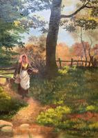 John Barter Lovely 19th Century Oil Painting 'Crossing the Stones' (3 of 14)