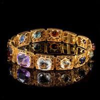 Art Deco Gemstone Bracelet Silver 18ct Gold Gilt c.1920 (2 of 8)