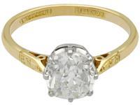 1.96ct Diamond & 18ct Yellow Gold, Platinum Set Solitaire Ring - Antique c.1910 (4 of 9)