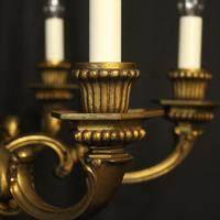 French Gilded Bronze 6 Light Antique Chandelier (5 of 10)