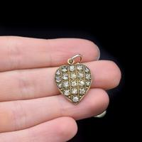 Antique Old Cut Paste Rolled Gold Puffy Heart Pendant Charm (7 of 8)