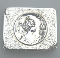 Superb Solid Silver Art Nouveau Maiden Table Snuff Box P Bryk c.1902 (4 of 8)
