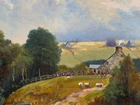 'Sheep In The Yorkshire Dales' - Original 1943 Vintage Landscape Oil Painting (8 of 12)