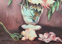 Large Original Gilt Framed 20th Century Impressionist Still Life Floral Oil Painting (6 of 12)