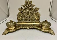 Antique Brass Desk Companion Inkwell Set c.1910 (6 of 8)