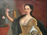 Huge Early 18th Century French Oil Portrait Painting of 'Lucy Webb, Heiress of Ashwick' (5 of 17)