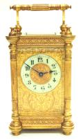 Fine Antique French 8-day Fleur De Lis Decorated Panel 8-day Carriage Clock Timepiece c.1890 (2 of 10)