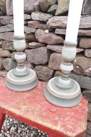 Pair of Swedish 'Folk Art' Large Over-sized Wooden Painted Candlesticks 20th Century (16 of 17)