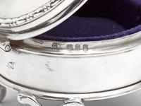 Small Circular Silver Jewellery Box with a Plain Body and Mauve Velvet Lining (5 of 5)