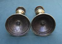 Pair of Victorian Brass Candlesticks with Hunting Scene Bases (2 of 6)
