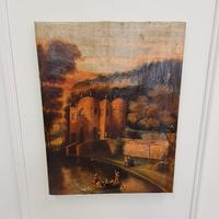 Early Naive Antique Oil Painting of Castle c.1800