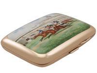 9ct Rose Gold & Enamel Cigarette Case - Antique Edwardian (3 of 12)