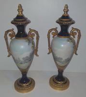 Pair of Hand Painted Early 20th Century French Porcelain Urns (2 of 8)