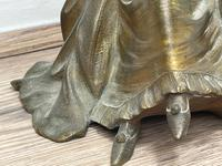 Important Art Nouveau Bronze Marble Seated Lady Sculpture By Xavier Raphanel (5 of 39)