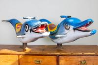 Pair of 1960s Vintage Fairground Dolphins
