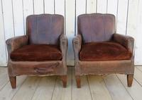 Pair of Antique French Leather Club Chairs (2 of 14)
