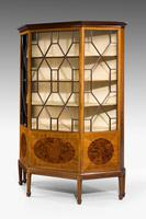 Edwardian Period Mahogany Display Cabinet with Offset Side Panels (3 of 8)
