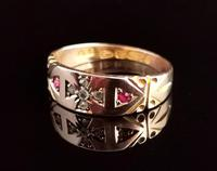 Victorian Ruby and Diamond Ring, Maltese Cross, 15ct Yellow Gold (9 of 12)