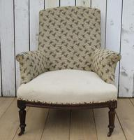 Shapely Antique Napoleon III Armchair for Re-upholstery (2 of 8)