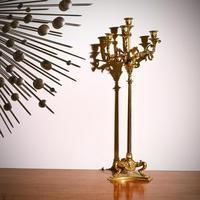 Elegant Pair of 19th Century Gilt Brass Candelabra by Elkington & Co (7 of 9)