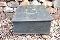 Scandinavian / Swedish 'Folk Art' original paint green/blue large table/alms/bible box raised on feet 1852 (21 of 36)